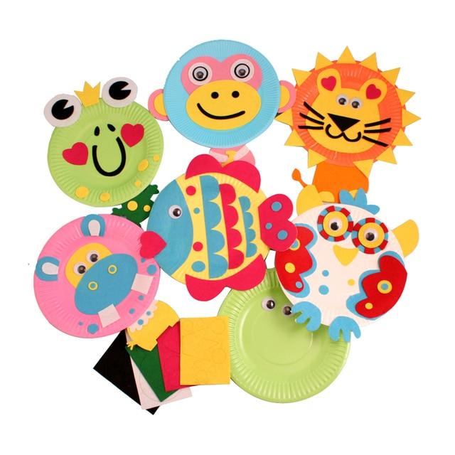 Children Color Paper Plate DIY Animal Toys Kindergarten Handmade Art Craft Stickers Educational