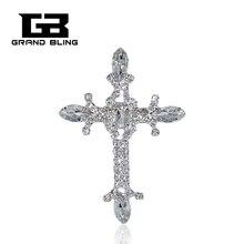 Fancy design Rhinestone silver christian jesus cross brooch pin