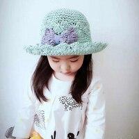 New Fashion 3-7Y Bambino Mano Del Bambino Del Crochet Cappello di Paglia di Sun Del Bambino Arco Principessa delle ragazze Dei Bambini Del Cappello Ragazze Spiaggia di Estate di Sun Cap XL123