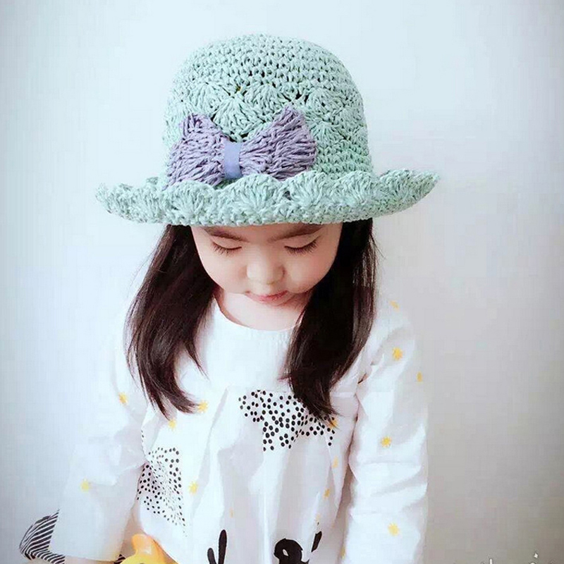New Fashion 3-7Y Toddler Baby Hand Crochet Straw Sun Hat Baby Girls Princess Bow Hat Children Girls Summer Beach Sun Cap XL123