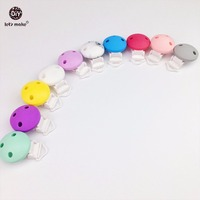 Let's Make Round Pacifier Chain Clip/Pacifier Clip/Silicone Clip Selectable 20pc Silicone Teething Beads Suspender Clip Beads