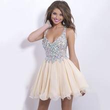 Vestido de fiesta curto платья для выпускного вечера с кристаллами, бисером и v-образным вырезом, без спинки, выше колена, выпускные платья, короткое платье для выпускного вечера