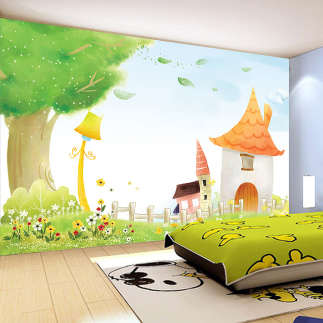 custom photo wallpaper pastoral hand painted child cartoon castle childrens room bedroom background wall decor mural