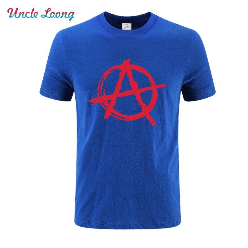 Anarchy Symbol T Shirt For Men Summer Cotton T shirt HIP HOP Bedlam Evil Anarchist War Rocker Printed Tops Short Sleeve in T Shirts from Men 39 s Clothing