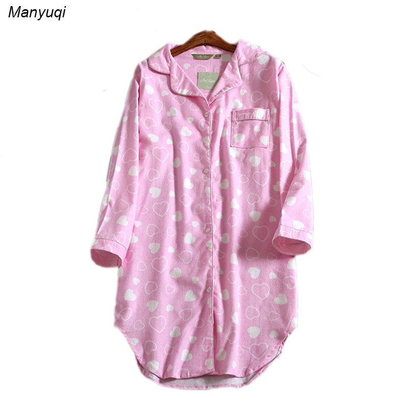 Women's pink heart-shaped night shirts long sleeve casual women night cotton lounge comfortable sleepwear big shirt