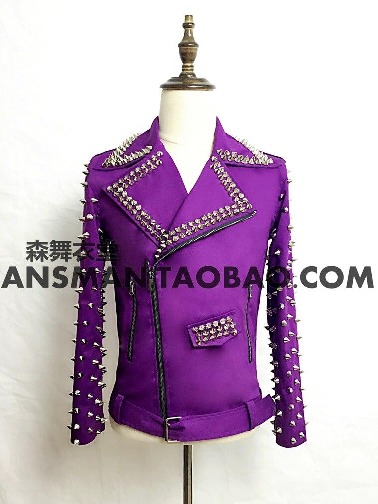 Hot 2018 New Bar Nightclub Male Singer Ds Men Dj With Purple Rivet Motorcycle Jacket Performance Suit Plus Size Coats