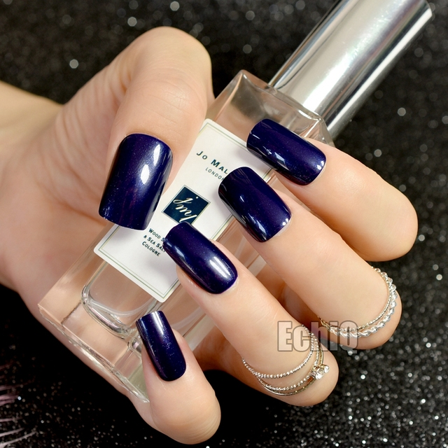 Square Full Nail Art Tips Sparkly Long Size Dark Blue Ladies Nails