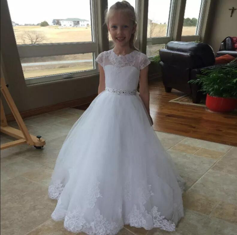 Actual Ball Gown White/Ivory Lace Appliques Flower Girls Dresses Jewel Neck Bead Child Pageant Dress with Sash Communion Gown