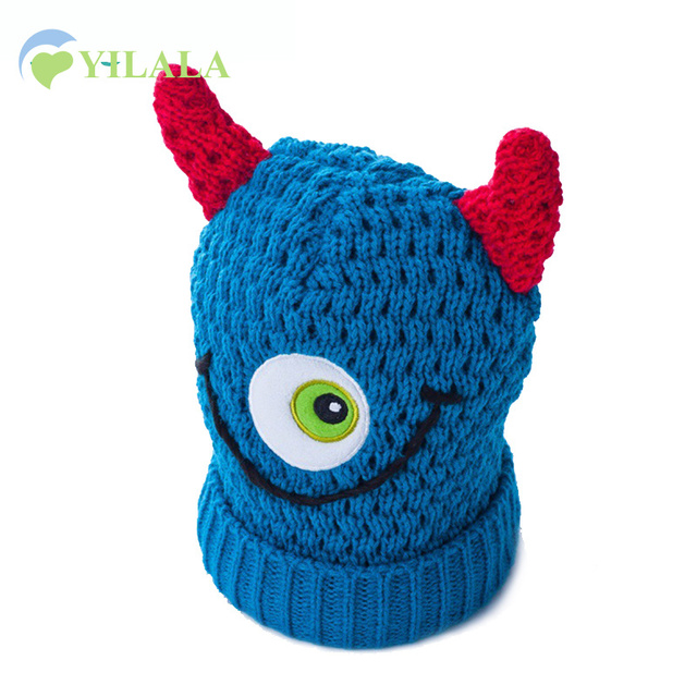 Knit Baby Boys Hat Soft Cotton Kids Beanie Hats Monster Style Children Cap  Boys Girls Spring b7f3bf72be3