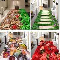 Creative 3D Printing Garden Flower Hallway Carpets and Rugs for Bedroom Living Room Carpet Kitchen Bathroom Anti-Slip Floor Mats