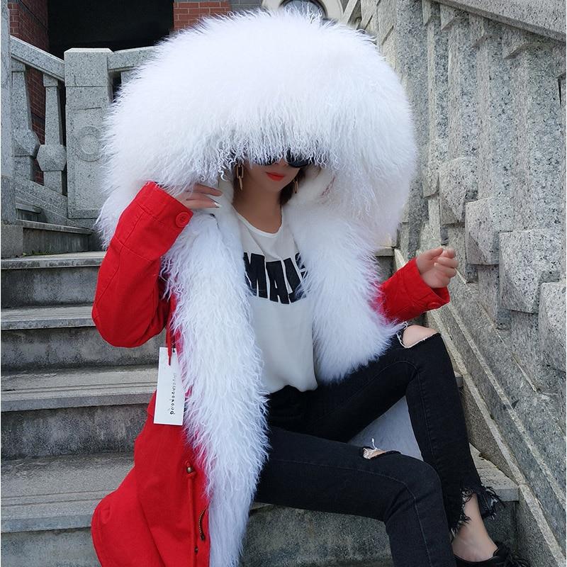 Maomaokong 여성 코트 겨울 긴 소매 느슨한 외부 코트 큰 자연 몽골 양 모피 칼라 긴 파카-에서리얼 퍼부터 여성 의류 의  그룹 1
