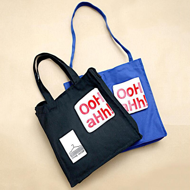 Blue/Black Shopping Bag Leisure Beach Bag Tote Canvas Shoulder Bag Daily Use Tote Handbag Large Capacity Tote Bag With Letters