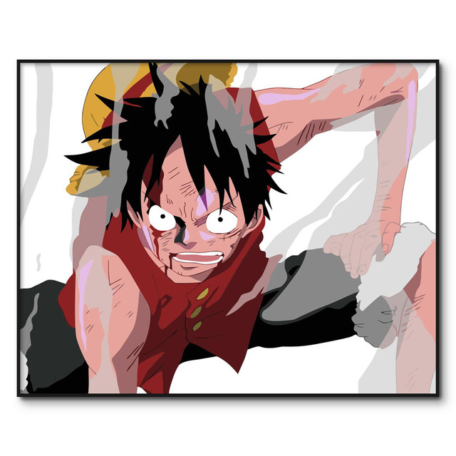 ONE PIECE Paint By Numbers Framed Picture Luffy DIY Painting By Numbers on Canvas Drawing Paint On Canvas For Home Wall