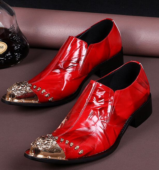 Choudory Mens Red Loafers Gold Metal Italian Shoes Men Leather Luxury Party Pointed Toe Dress Shoes choudory new winter men ankle italian shoes men leather shoes pointed toe mens black dress shoes sequined toe spiked loafers men
