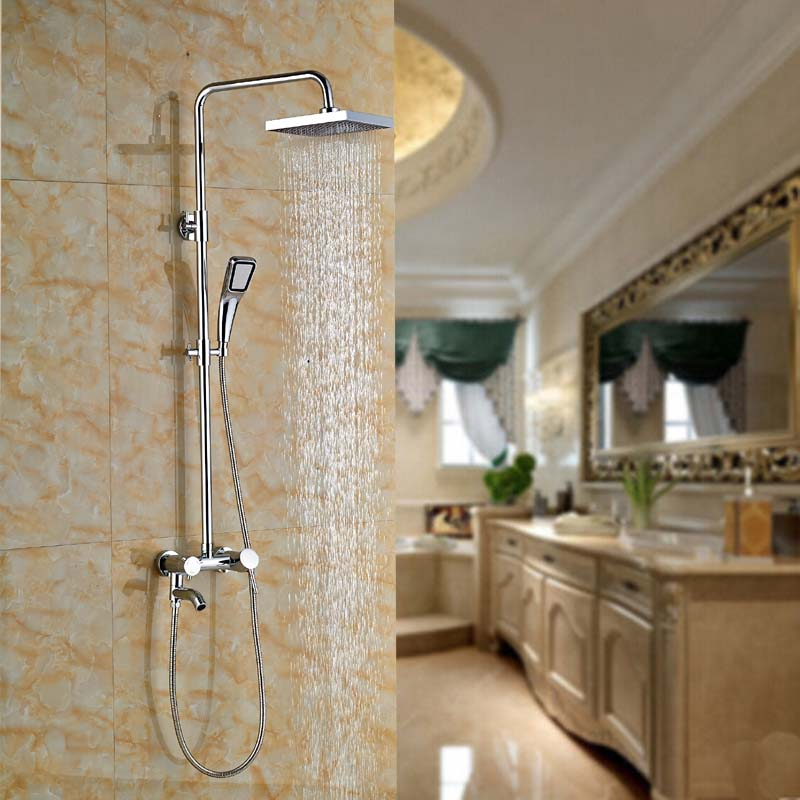 Chrome Brass Single Handle 8'' Rainfall Tub Shower Faucet Wall Mount Bathroom Shower Mixer Tap +Hand Spray china sanitary ware chrome wall mount thermostatic water tap water saver thermostatic shower faucet