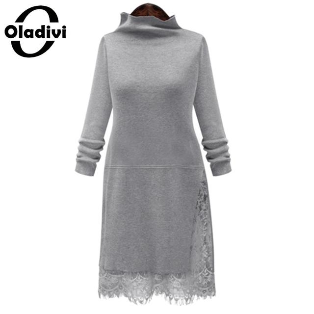 Oladivi 2016 new outono inverno mulheres lace camisola das senhoras do vintage de manga comprida básica pulôver de malha tops roupas plus size 5xl