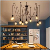 Loft LED Creative Spider Lights Chandelier for Bar coffee shop Simple fish wire iron droplight Experimental bottle Light