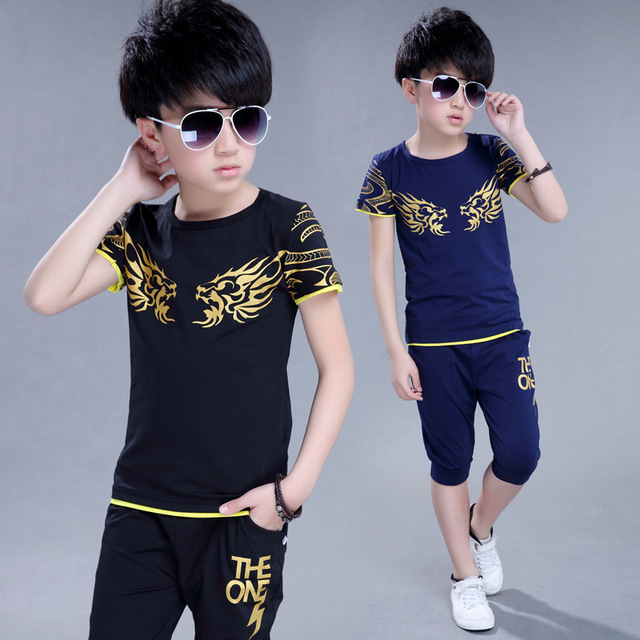 Camiseta para niños + Pantalones cortos traje deportivo para niños conjunto  de ropa deportiva para niños ee71e150025d
