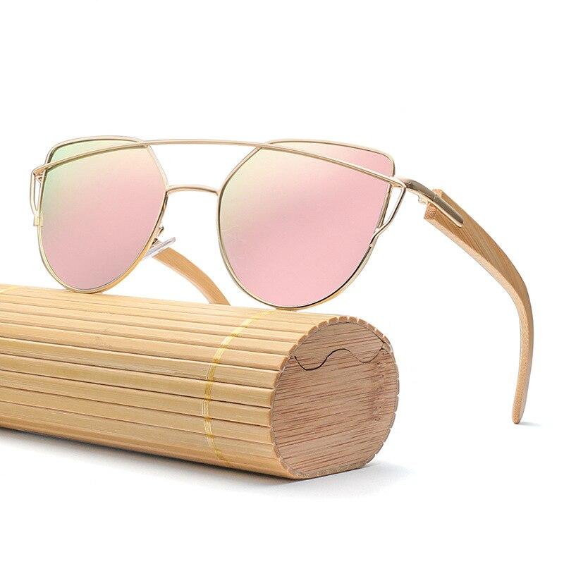 66fa26625e Fashion Women Bamboo Sunglasses Polarized UV400 lens Mirror Rose Gold Super  Star Men Wood Sun glasses