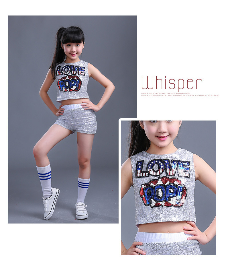 Unisex Kids Set Hip Hop Performance Clothing Short Pants  Hip Hop Dance Costumes Kids Streetwear For Girls Boys Competition Hip-