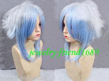 Wholesale heat resistant LY free shipping New wig Cosplay Hiiro no Kakera Short White Blue Mixed