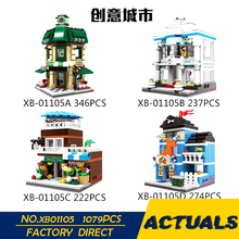 XingBao 01105 LegoEDS Creative City Series The Coffee Wedding Flower pet Shop 4 in 1 Model Building Kit Block Brick Toys For Kid