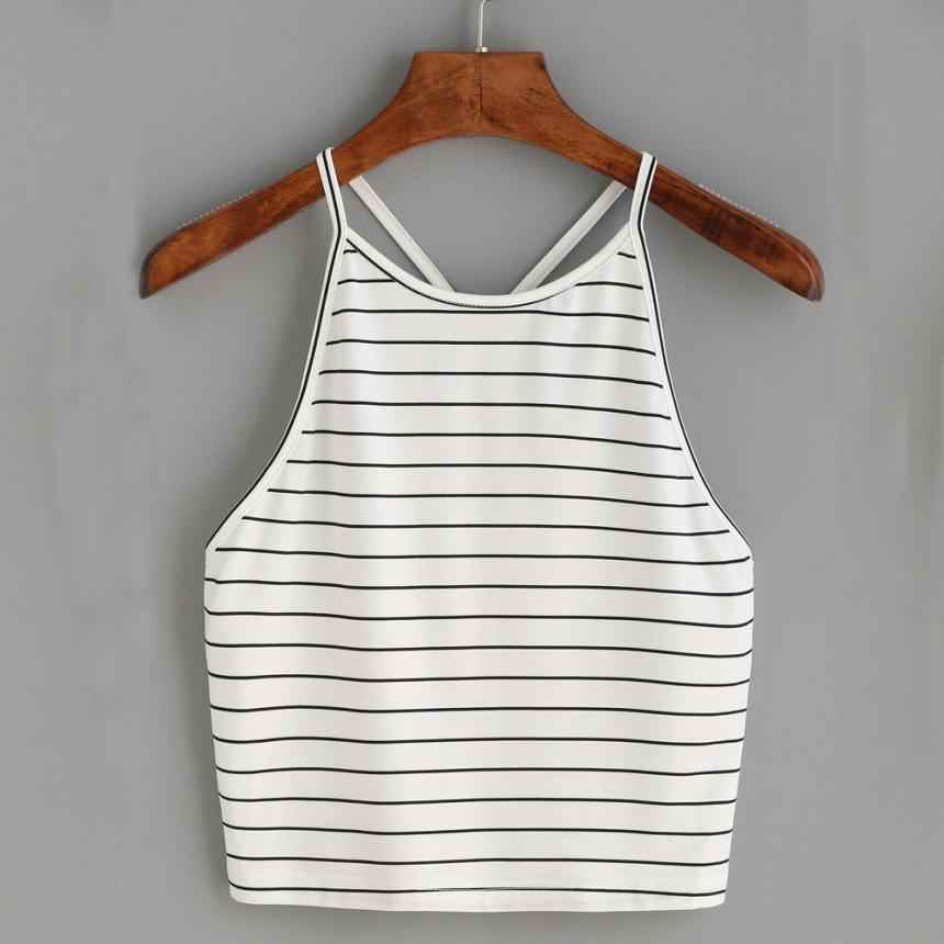 KANCOOLD tops high quality Cotton Fashion Sexy Striped Tank Sleeveless T-Shirt summer tops for women 2018 ap27