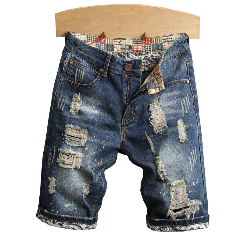 2019 TANG Fashion Mens Ripped Short Jeans With Holes Summer Vintage Destroyed Distressed Denim Shorts For Man Plus Size 28-40