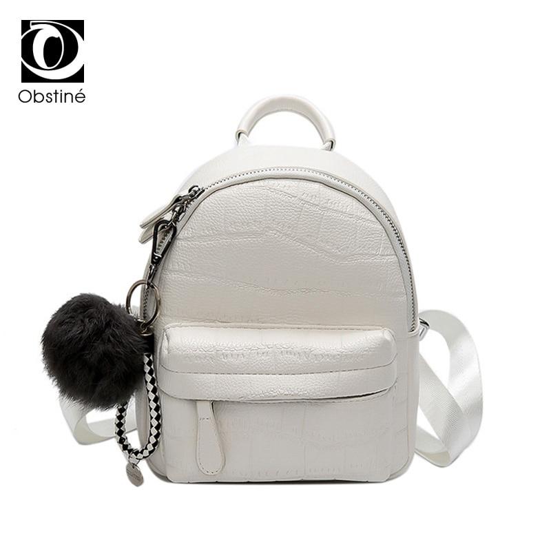 Mini Backpacks Women PU Leather Cute Small Backpack Female White Back Pack Black Backpacks for Teen Girls Fashion Bagpack Woman-in Backpacks from Luggage & Bags