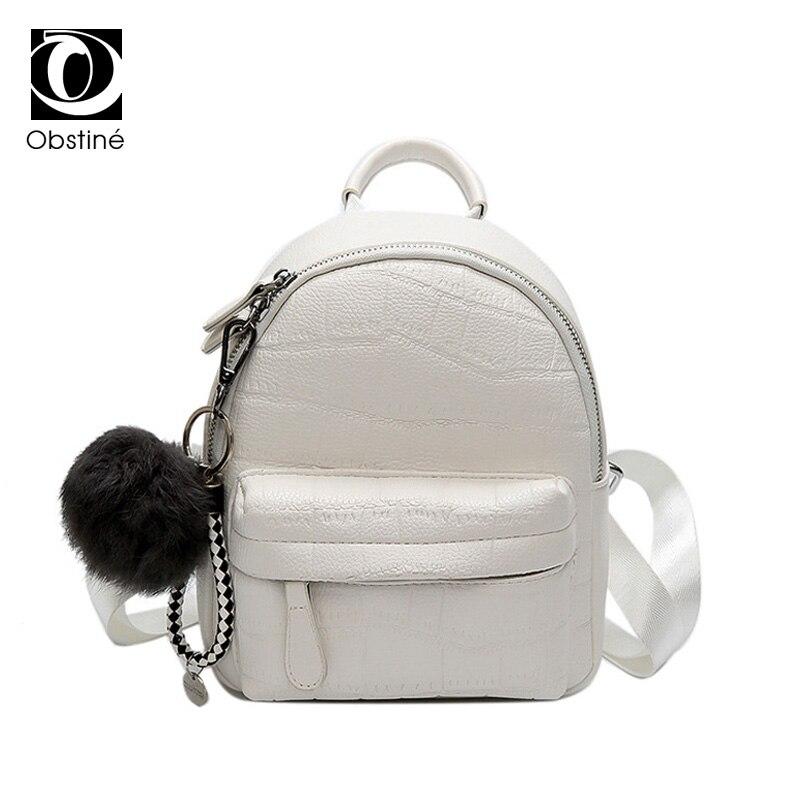 Mini Backpacks for Women Leather PU Cute Daypack Small Backpack Female White Bagpack Woman Fashion Black Back Pack Bag for Lady