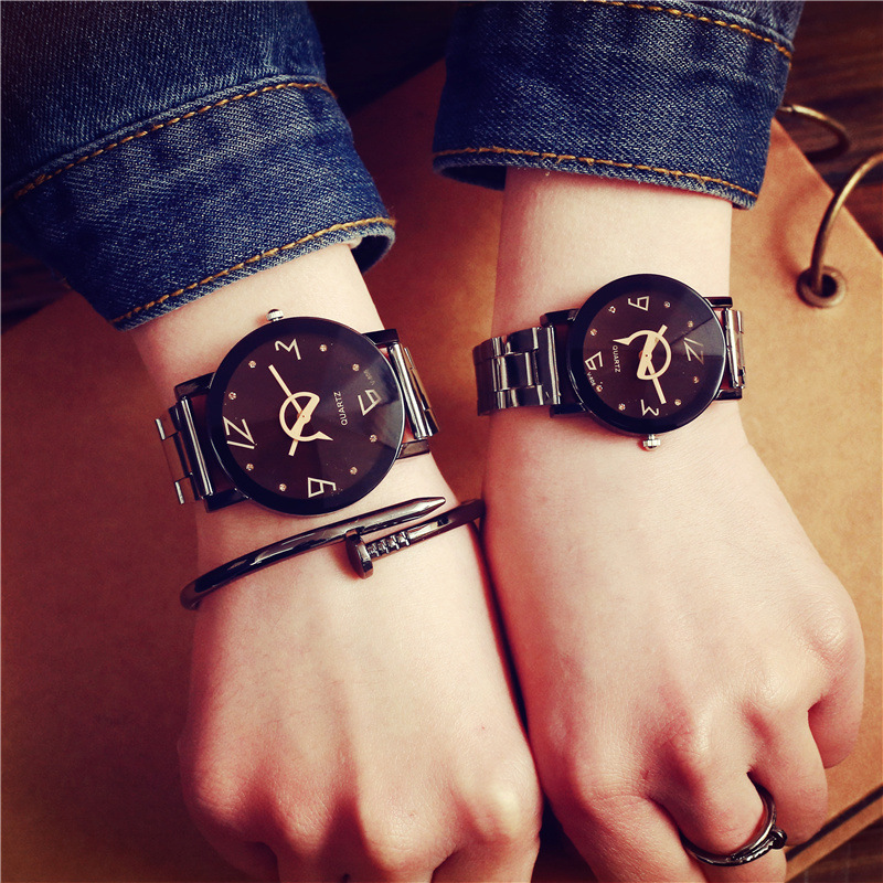 Creative Women Men Watches 2017 BGG Simple Diamond Dial Full Stainless Steel Quartz Watch Lover Fashion Wristwatch Relogio 2017 new gift enmex hit color steel frabic strap creative dial changing patterns simple fashion for young peoples quartz watches