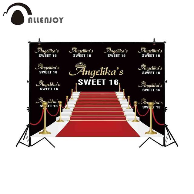 Allenjoy backgrounds for photography studio golden steps road red carpet sweet 16 backdrop birthday party customize photocall