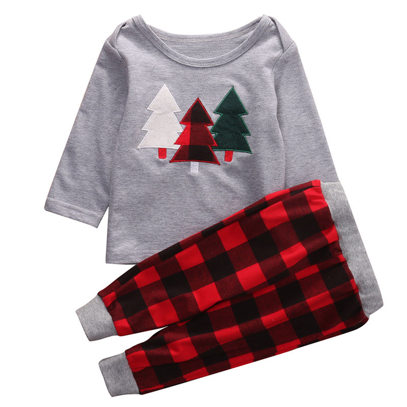 Комплект одежды для маленьких Для мальчиков ясельного возраста Обувь для девочек с длинным рукавом серая футболка Топы корректирующие хлопок штаны в клетку Одежда для маленьких мальчиков наряды От 1 до 6 лет