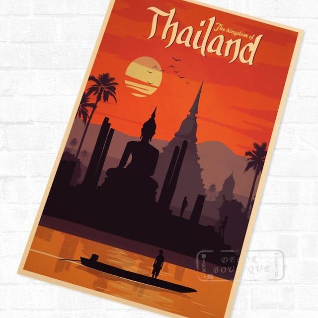 Pop Art Bangkok Thailand Vintage Retro Travel Kraft Poster ...