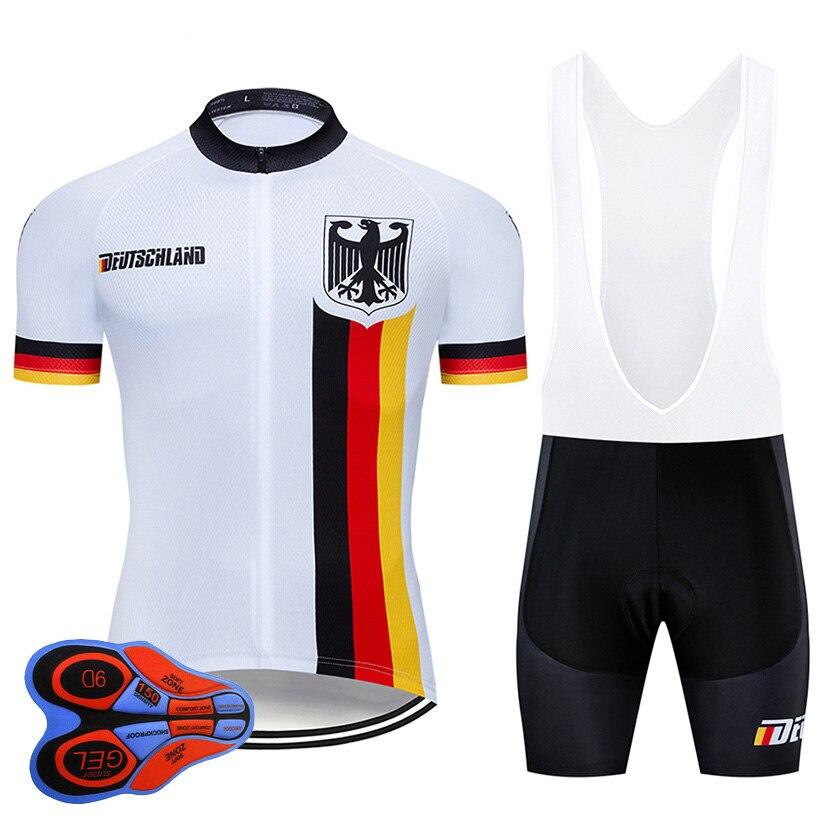 2020 Pro équipe allemagne cyclisme 9D ensemble Jersey vêtements de vélo Ropa Ciclismo hommes été séchage rapide vélo vêtements court Maillot Culotte