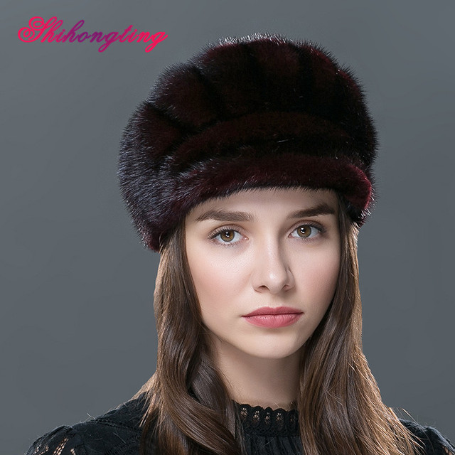 Striped Knitted Lady Hat Cone Shape Beanies Cap Pure Color Real Mink Fur Outdoor Caps Headwear Ear Protection Tampas WZD-04