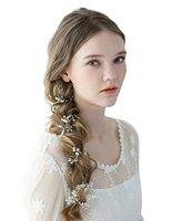 עבודת יד הכלה שיער ריינסטון חתונה בגימור פנינת חתיכה גפן תכשיטי ראש ארוך 100 ס