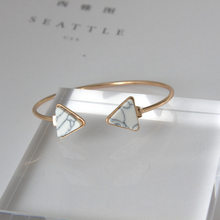 Punk 2018 New Fashion Bracelet Personality Simple Geometric White / Blue Triangle Bracelet Lady Wholesale Sales Faith Bracelet(China)