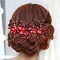 Flor de Cristal Strass Headpiece Bridal Cocar de Noiva Acessórios Para o Cabelo de Jóias de Casamento Vermelho Para Mulheres