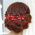Flower Crystal Rhinestone Bridal Headpiece Red Wedding Headdress Bridal Hair Accessories Jewelry For Women
