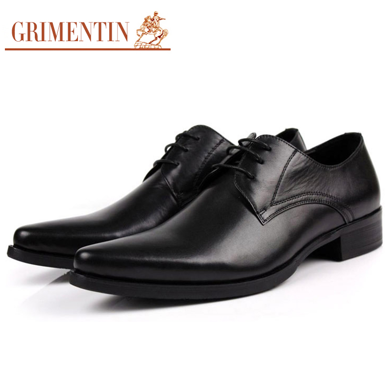 GRIMENTIN Mens Dress Shoes Pointed Toe Genuine Leather Italian Classic Wedding Business Shoes Male Footware classic men s genuine leather shoes cowhide leather pig inner pointed toe derby dress wedding business shoes 2018 fashion
