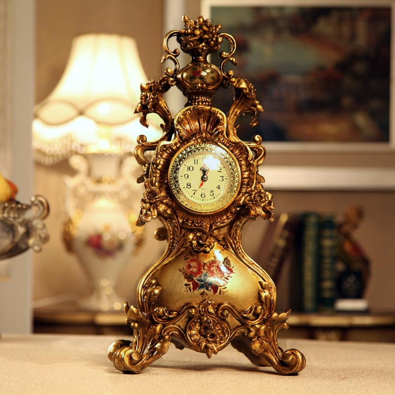 European Noble Luxury Resin Relief Retro Desk Table Clock Fashion Home  Decoration,table Top Sitting Room Silent Decor