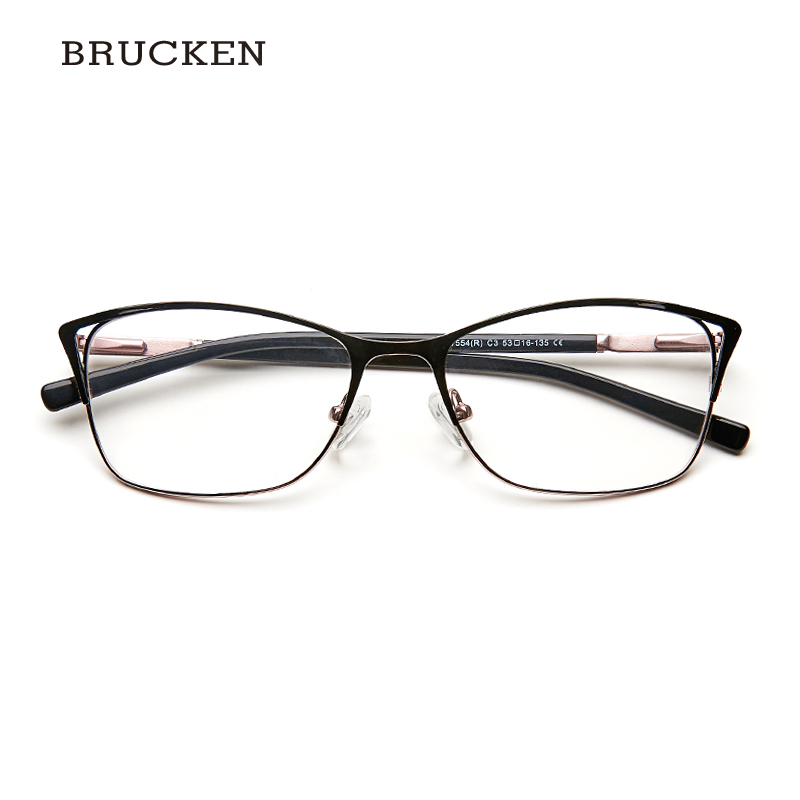 Metal Eyeglasses Frame Women Cat Eye Glasse Clear Vintage Transparent Prescription Myopia Woman Glasses Optical Frames#TWM7554C3