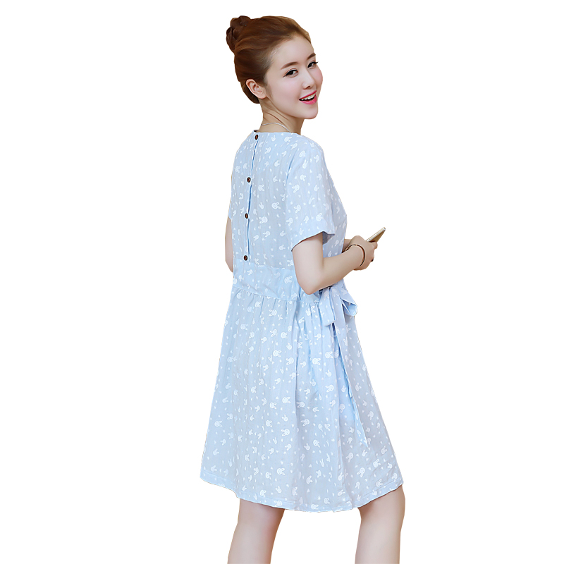 2018 summer maternity clothes arrival fashion half sleeve striped knee length loose plus dress clothes for pregnant women
