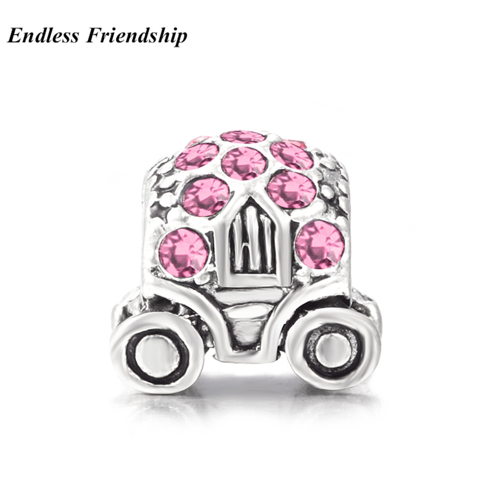 New Year Gifts 5 Colors Carriage Charms Beads with AAA Zircon Fit Pandora Charms Bracelet DIY Making Woman Jewelry Accessories