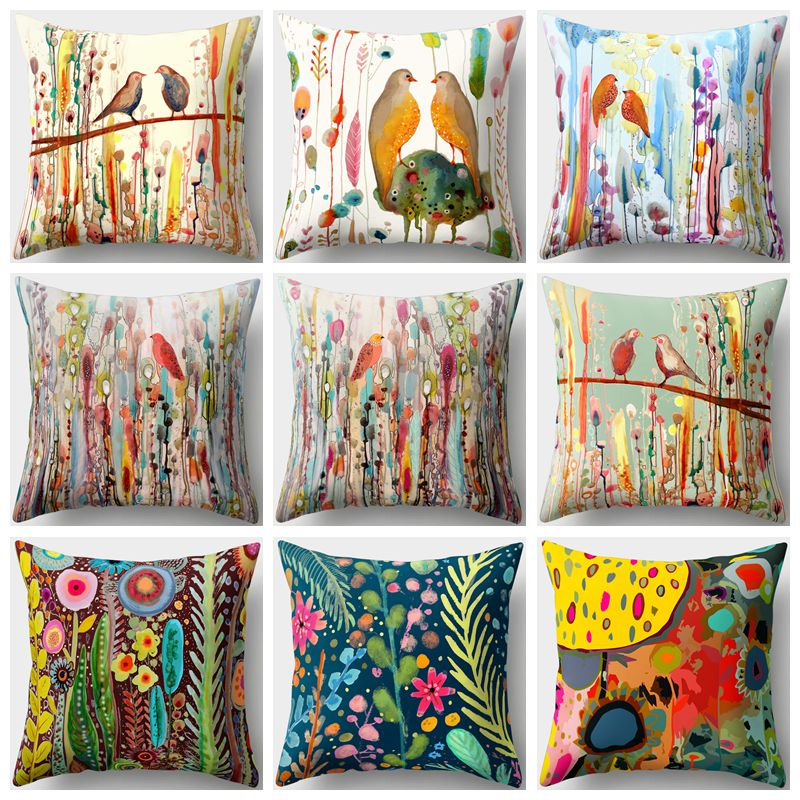 45x45cm Bird Oil Painting Polyester Cushion Cover Plant Flower Pillow Case Home Decorative Pillows Cover For Sofa Car