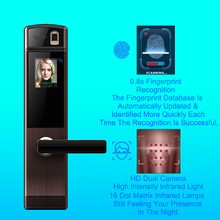 OUTLET Biometric Digital Door Lock Fingerprint Safe For Home Anti-theft Face Electronic Door Lock With Key Smart Lock Door Home jcsmarts jcf3301 goden color electric key card door lock fingeprint biometric lock with double tongue mortise