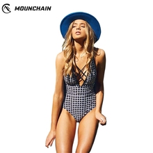 Mounchain Women High Waist One Piece Swimsuit Sexy Bathing Suit Plaid Printing Conjoined Bikini Set