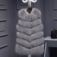 New Winter Thick Warm Women's Waistcoat Faux Fox Fur Vest Sleeveless Jackets Fake Fur Coat Plus Size Female Long Gilet Vests