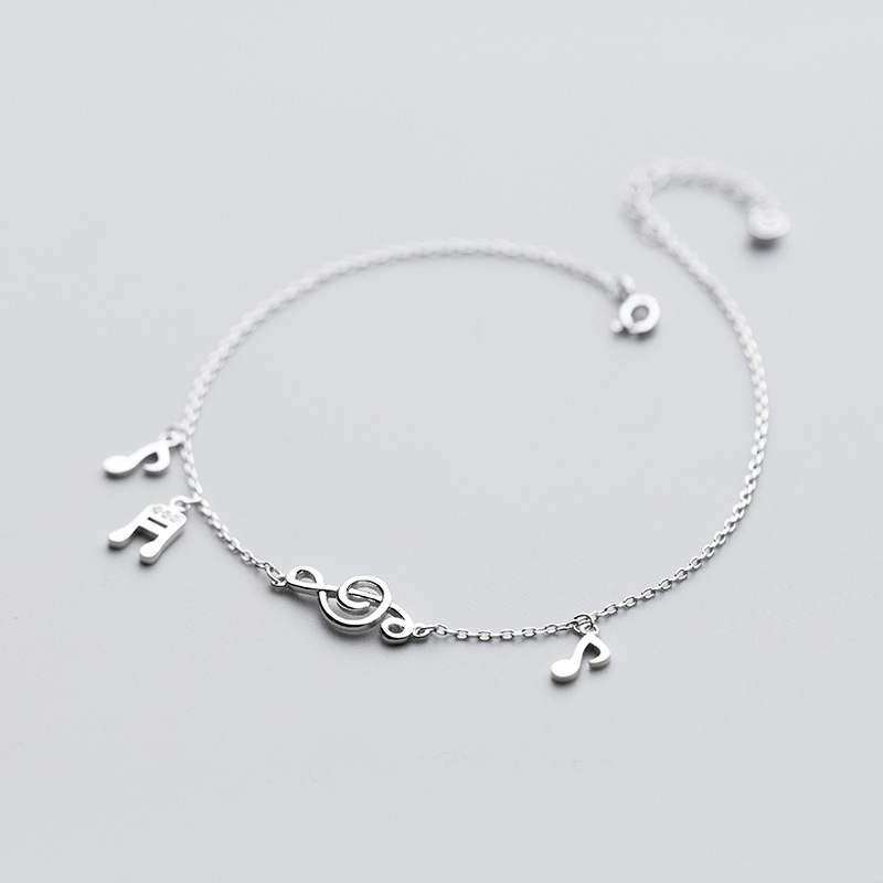 Real 925 Sterling Silver Beach music Anklets Foot Chain Foot Anklet Bracelet For Fashion Women Jewelry